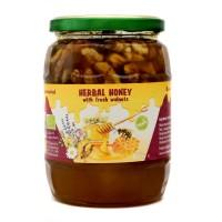 Organic Raw Herbal Honey with Walnuts (870g)